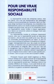 Pour une vraie responsabilité sociale ; clarifications, propositions - 4ème de couverture - Format classique