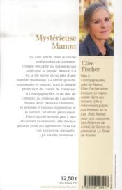 Mystérieuse Manon - 4ème de couverture - Format classique