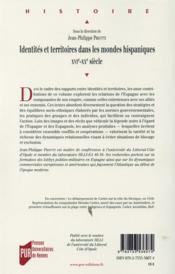 Identités et territoires dans les mondes hispaniques ; XVI-XXe siècle - 4ème de couverture - Format classique