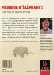 Mémoire d'éléphant ! vrais trucs et fausses astuces - 4ème de couverture - Format classique