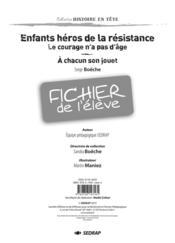 Enfants héros de la résistance ; fichier de l'élève - Couverture - Format classique