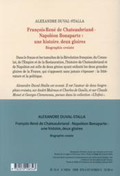 François-René de Chateaubriand - Napoléon Bonaparte : une histoire, deux gloires - 4ème de couverture - Format classique