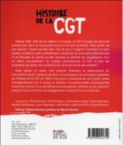 Histoire de la CGT ; bien-être, liberté, solidarité - 4ème de couverture - Format classique