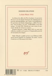 Leïlah Mahi 1932 - 4ème de couverture - Format classique