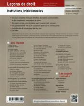 Lecons D'Institutions Juridictionnelles - 4ème de couverture - Format classique
