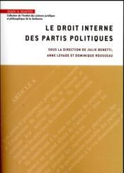 Droit interne des partis politiques - Couverture - Format classique
