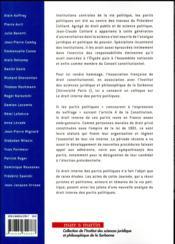 Droit interne des partis politiques - 4ème de couverture - Format classique