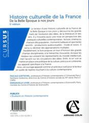Histoire culturelle de la France ; de la Belle Epoque à nos jours (5e édition) - 4ème de couverture - Format classique