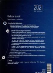 Code du travail (édition 2021) - 4ème de couverture - Format classique