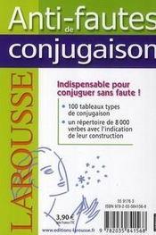 Anti-fautes de conjugaison - 4ème de couverture - Format classique