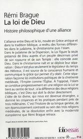 La loi de Dieu ; histoire philosophique d'une alliance - 4ème de couverture - Format classique