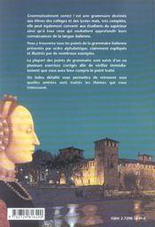 Grammaticalemnt Correct Grammaire Alphabetique De L'Italien - 4ème de couverture - Format classique