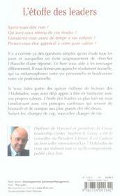 L'etoffe des leaders (2e édition) - 4ème de couverture - Format classique