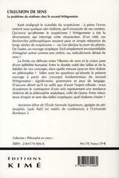 L'illusion de sens ; le problème du réalisme chez le second wittgenstein - 4ème de couverture - Format classique
