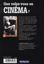Que Valez-Vous En Cinema - 4ème de couverture - Format classique
