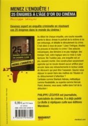 25 Enigmes A L'Âge D'Or Du Cinéma - 4ème de couverture - Format classique
