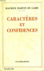 Caracteres Et Confidences. - Couverture - Format classique