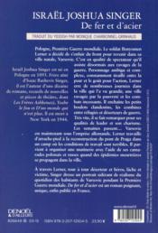De fer et d'acier - 4ème de couverture - Format classique