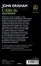 L'allée du sycomore - 4ème de couverture - Format classique