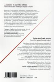 La protection du secret des affaires ; état des lieux en droit français et projet européen - 4ème de couverture - Format classique