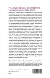 Processus électoraux et immobilisme politique au Gabon (1990-2009) - 4ème de couverture - Format classique