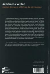 Aumônier à Verdun ; journal de guerre et lettres du père Anizan - 4ème de couverture - Format classique