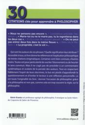 30 Citations Cles Pour Apprendre A Philosopher - 4ème de couverture - Format classique