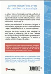 Barème indicatif des arrêts de travail en traumatologie (3e édition) - 4ème de couverture - Format classique