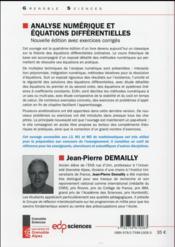 Analyse numérique et équations différentielles - 4ème de couverture - Format classique