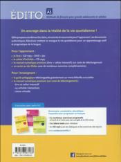 Édito ; niveau A1 ; livre + CD MP3 + DVD - 4ème de couverture - Format classique