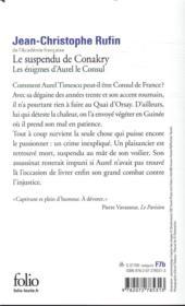 Les énigmes d'Aurel le consul T.1 ; le suspendu de Conakry - 4ème de couverture - Format classique