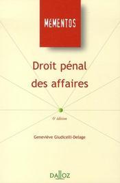 Droit pénal des affaires (6e édition) - Intérieur - Format classique