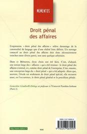 Droit pénal des affaires (6e édition) - 4ème de couverture - Format classique