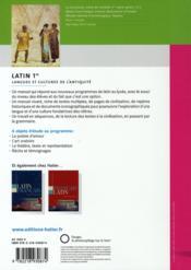 Latin ; 1ère ; livre de l'élève (édition 2008) - 4ème de couverture - Format classique