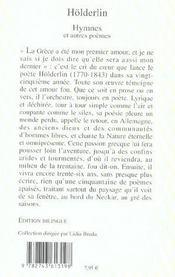 Hymnes et autres poèmes - 4ème de couverture - Format classique