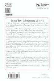 Entrer Dans La Litterature A L'Ecole - 4ème de couverture - Format classique