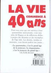 Vie Commence A 40 Ans - 4ème de couverture - Format classique