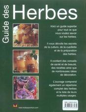 Guide Des Herbes - 4ème de couverture - Format classique
