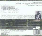 Relation d'un voyage de Paris en Limousin ; lettres à Madame de La Fontaine - 4ème de couverture - Format classique