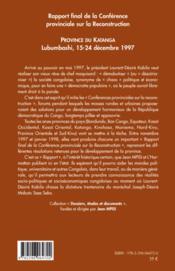 Rapport final de la conférence provinciale sur la reconstruction ; province du Katanga ; Lubumbashi, 15-24 décembre 1997 - 4ème de couverture - Format classique