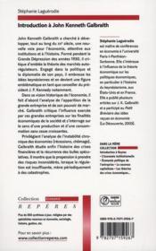 Introduction à John Kenneth Galbraith - 4ème de couverture - Format classique