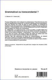Grammatical ou transcendantal ? - 4ème de couverture - Format classique
