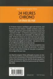 24 heures chrono ; le choix du mal - 4ème de couverture - Format classique