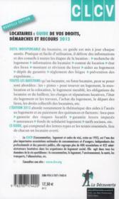 Locataires ; guide de vos droits, démarches et recours ; 2013 - 4ème de couverture - Format classique
