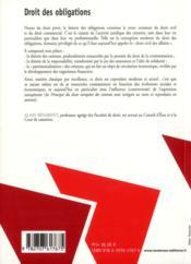 Droit des obligations (13e édition) - 4ème de couverture - Format classique