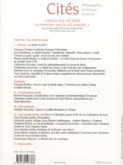 Revue Cites N.52 ; La Laïcité En Péril ? - 4ème de couverture - Format classique
