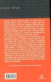 Richard Sorge ; L'Espion Seducteur - 4ème de couverture - Format classique