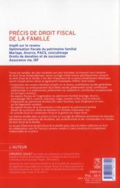 Précis de droit fiscal de la famille - 4ème de couverture - Format classique