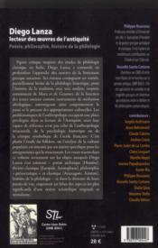 Diego lanza, lecteur des oeuvres de l'Antiquité ; poésie, philosophie, histoire de la philologie - 4ème de couverture - Format classique