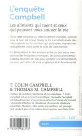 L'enquête Campbell ; les aliments qui tuent et ceux qui peuvent vous sauver la vie - 4ème de couverture - Format classique